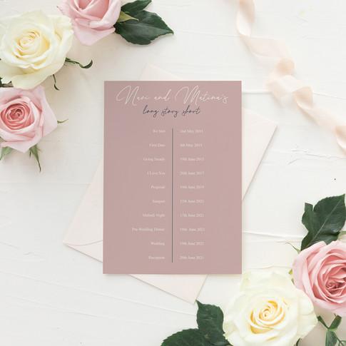 Blush and Navy Wedding Invitation