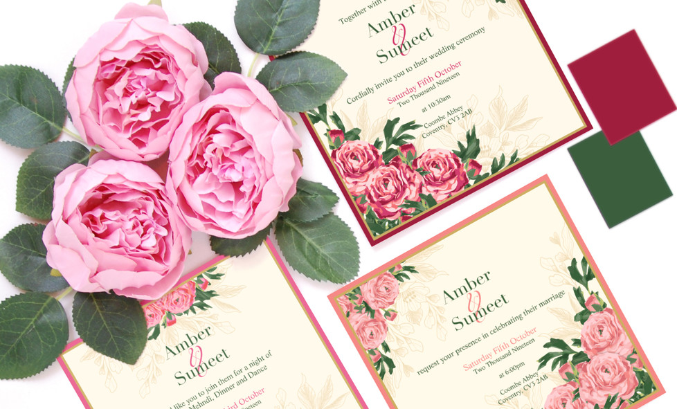 Floral Indian Wedding Invitations