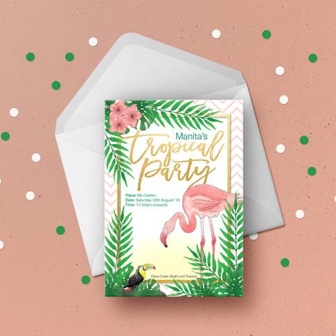 Tropical Birthday Invitation Card