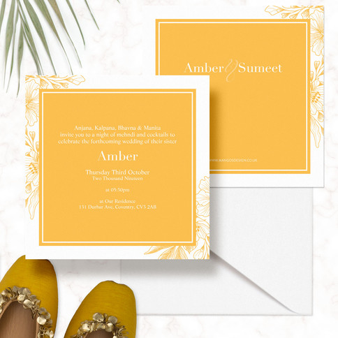 Floral Modern Indian Wedding Invitations