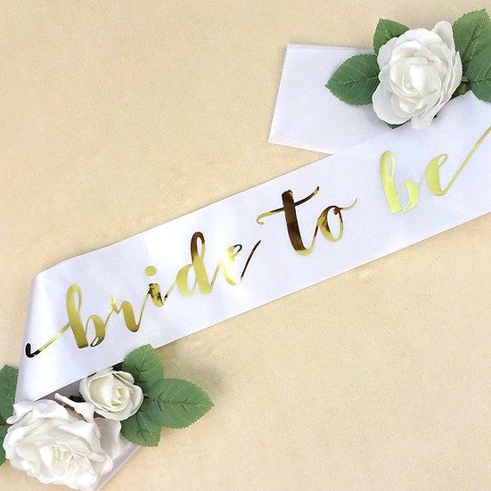 White & Gold 'Bride' Sash