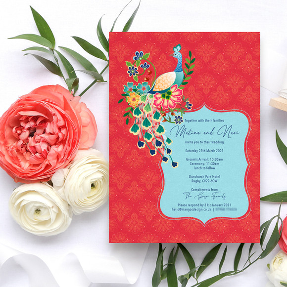 Peacock Indian Wedding Invitations