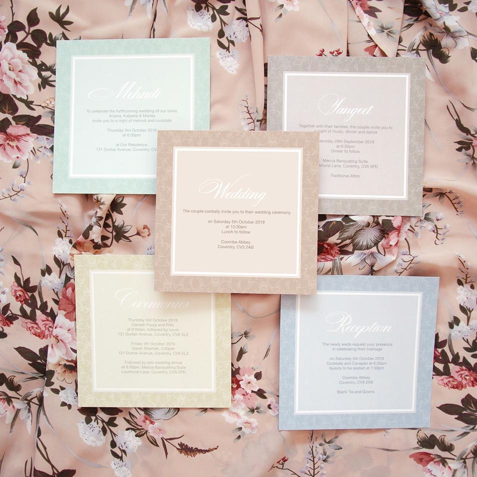 Pastel Indian Wedding Invitations