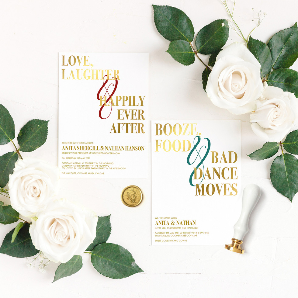 White and Gold Indian Wedding Invitations
