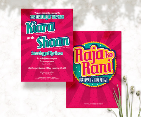 Bright Retro Indian Wedding Invitations