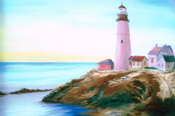 Maines Lighthouse oil 16x20