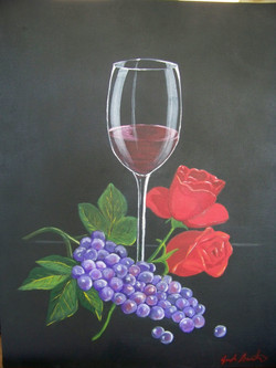 Wine glass, roses, and grapes