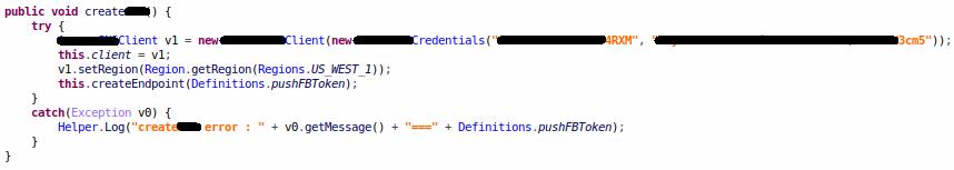 Credenciais para serviços de notificação push incorporados em um aplicativo - Fonte: Check Point