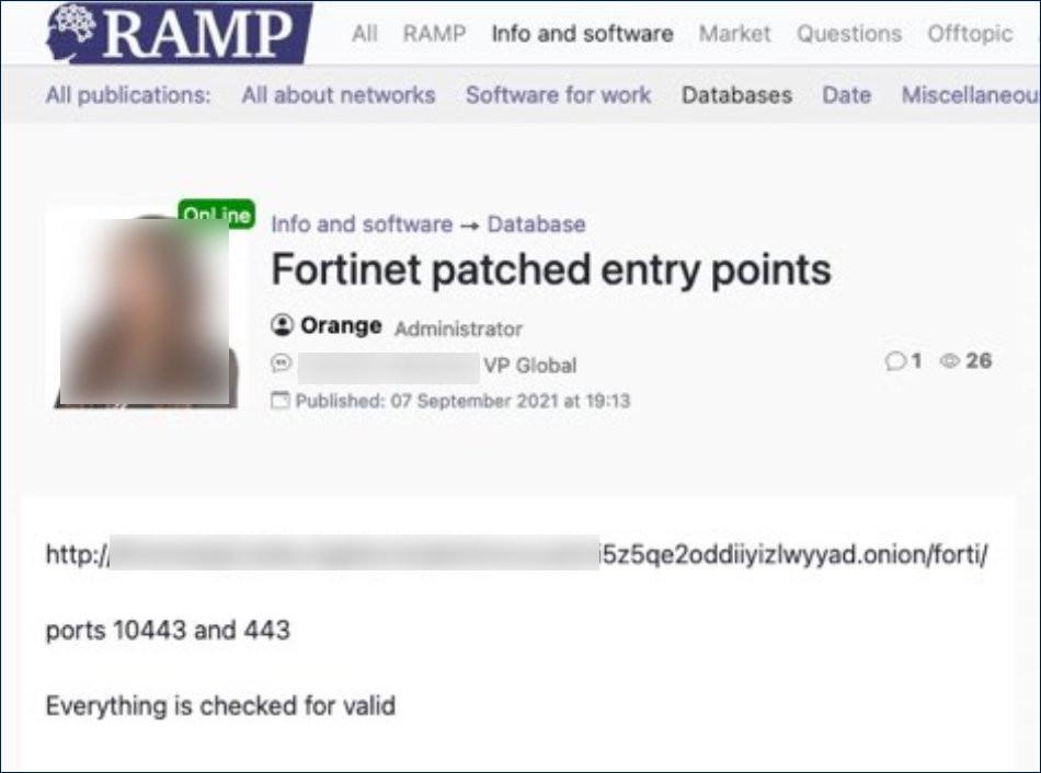 Postagem no fórum RAMP - Fonte: Bleeping Computer