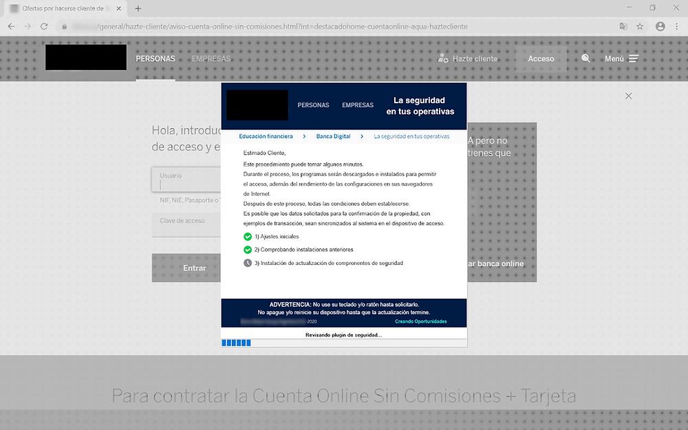 Bizarro bloqueando a página de login de um banco e informando ao usuário que as atualizações de segurança estão sendo instaladas - Fonte: Kaspersky
