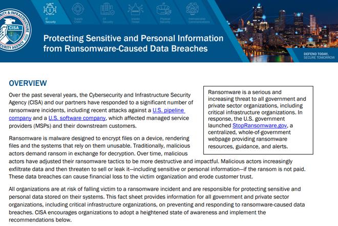 Protegendo informações confidenciais e pessoais de vazamento de dados causados por ransomware.