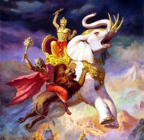 Indra é atacado por Jambasura.