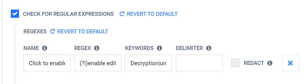 """Na seção """"Check for regular expressions"""", você pode usar o campo """"RegEx"""" para inserir possíveis palavras-chave de phishing."""