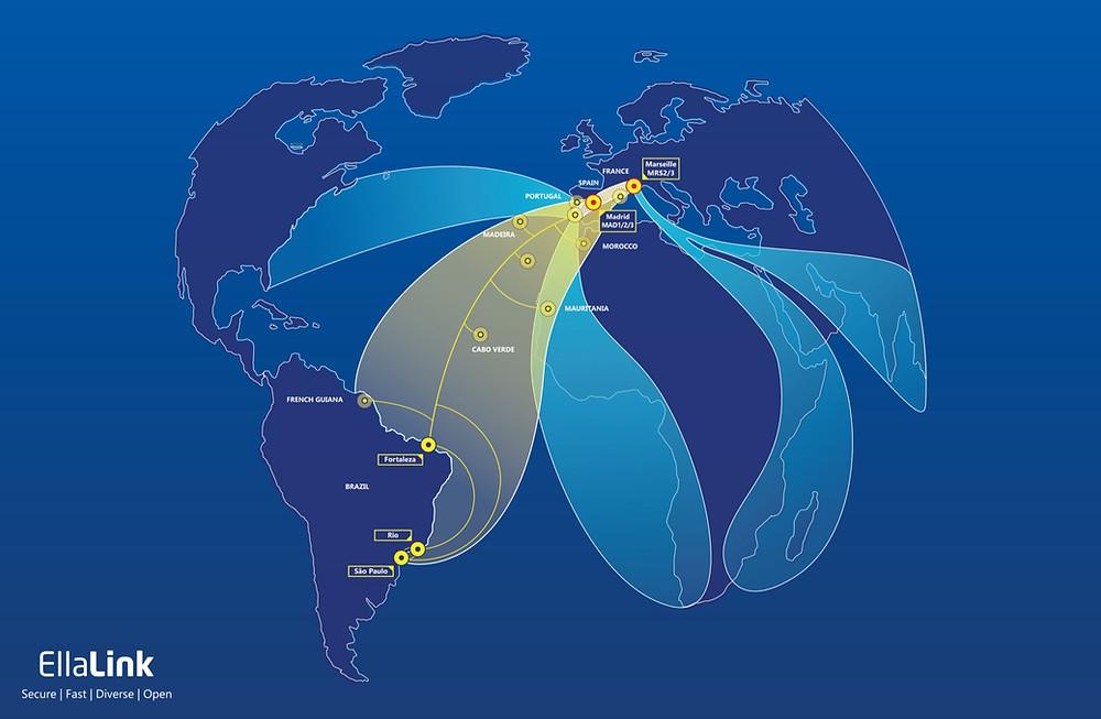 Novo corredor de dados entre Europa e América Latina- Fonte: EllaLink