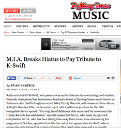 Rolling Stone | M.I.A Pays Tribute..