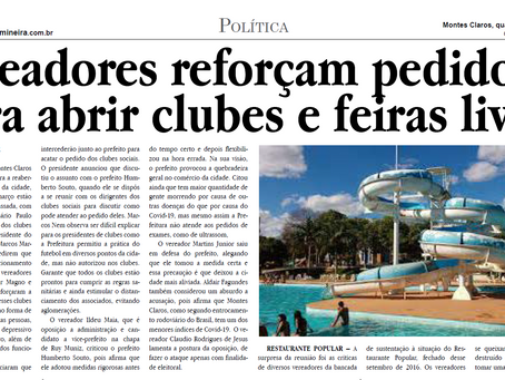 Vereadores reforçam pedido para abrir clubes e feiras livres Jornal Gazeta, 14/10/2020