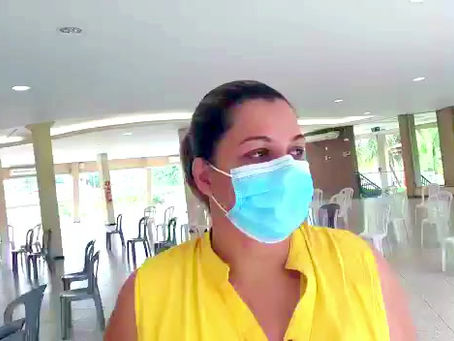 Priscila Queiroz concede entrevista após realizar treinamento no Max Min Clube.