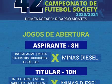 Os jogos de abertura do 42º Campeonato de Futebol Society acontecerão neste domingo