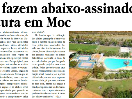 Clubes fazem abaixo-assinado para reabertura em MOC  Jornal gazeta 23/10/2020