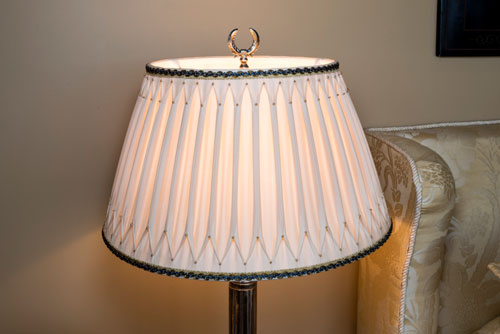 Hand smocked and beaded lampshade