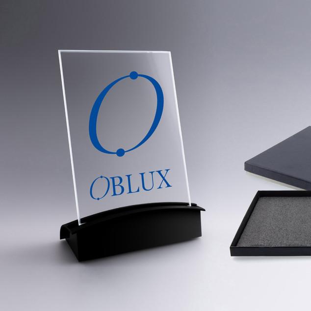 OBLUX | Plaque rectangle avec socle lumineux - Portrait