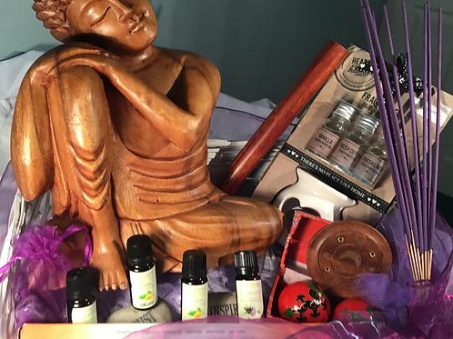The Beautiful Carved Wood Buddha Meditation Gift Hamper