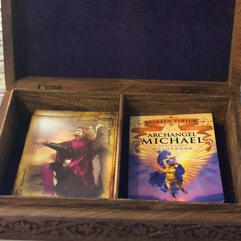 Archangel Michael Oracle Cards and Carved Wooden Box
