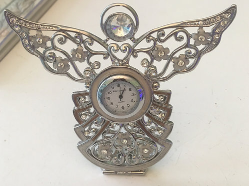 Silver and Crystal Angel Clock