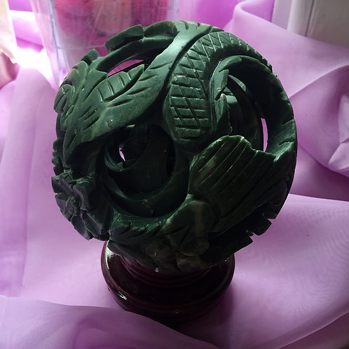 Jade Carved Healing Ball 120 mm