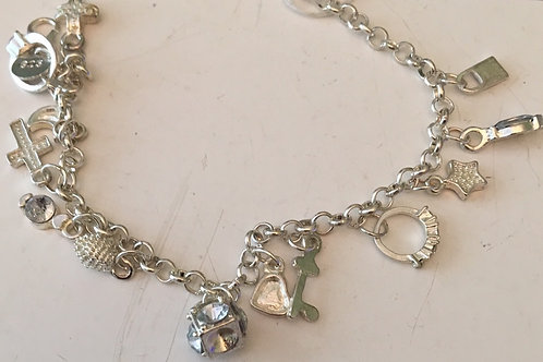 Sterling Silver Charm Bracelet with 12 Sterling Silver Charms