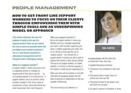 Tanya Curtis' article in the February 2012 Australian Community Management Magazine