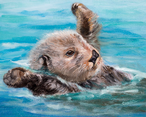 Otter Body Experience, canvas print by Claudia Ignatieff