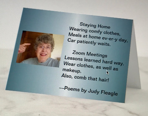 Staying at Home & Zoom Meetings, Haiku Poem Card by Judy Fleagle