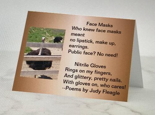 Face Masks and Nitrile Gloves, Haiku poem card by Judy Fleagle