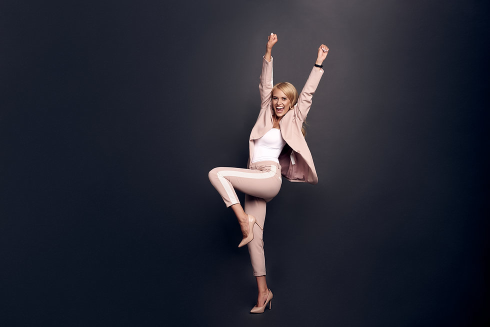 Full body photo of crazy business lady, raise leg, fists up unbelievable achievement cool