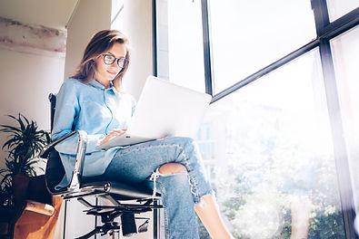 Hipster Girl use Laptop huge Loft Studio