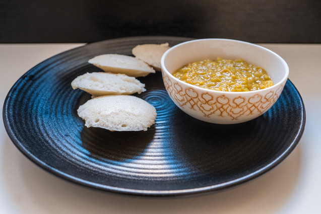 Idli with tangy cabbage lentil dal