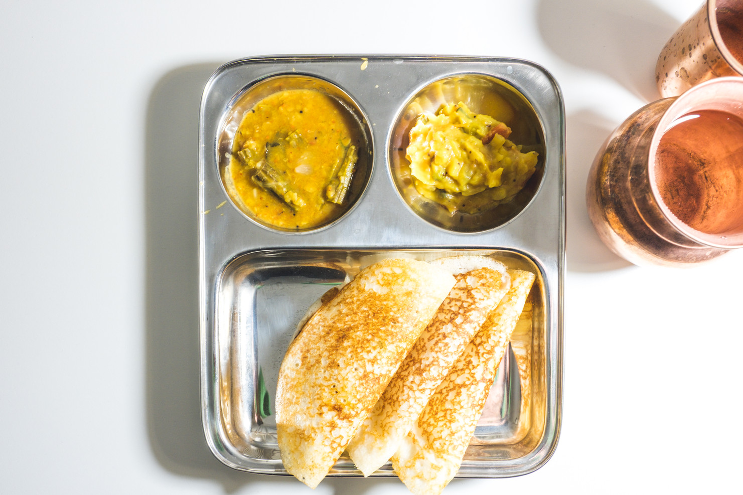 Set dosa with sambar and chutney