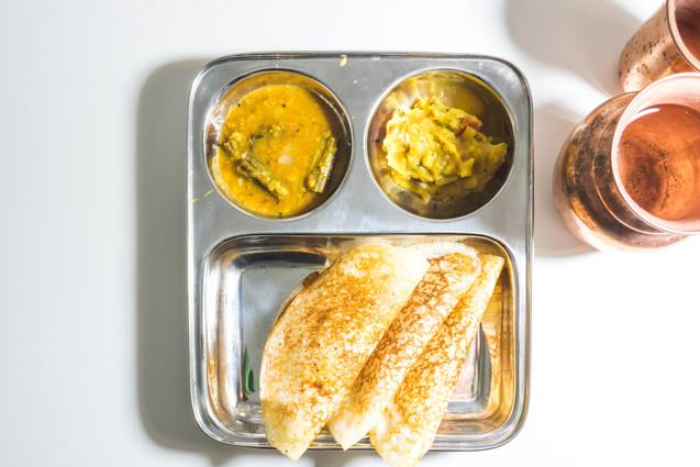 Set dosa with sambar and chutney