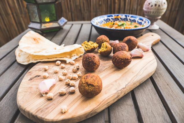Falafel and hummus with arabian bread
