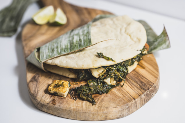 Naanwich with spinat tofu