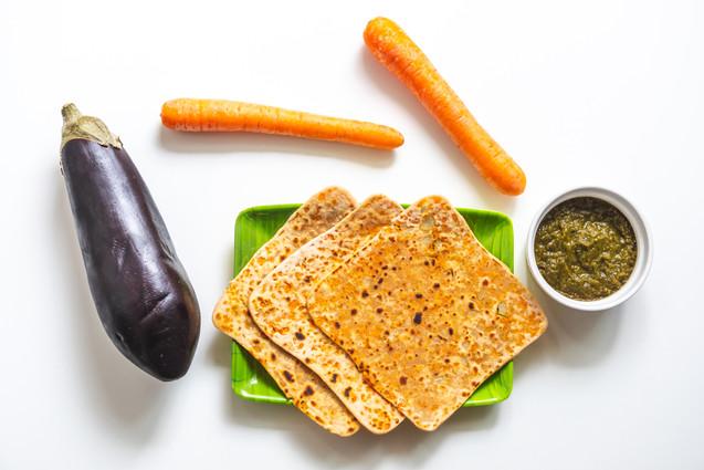 Carrot chapati with eggplant bajji