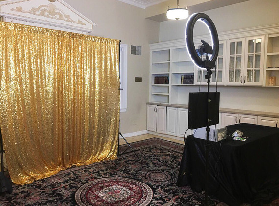 Open Air Photobooth with Gold Backdrop