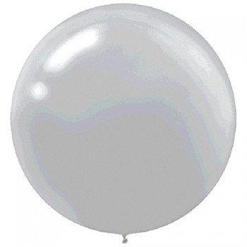 "Pack of 4 - 24"" Silver Round Latex Balloon"