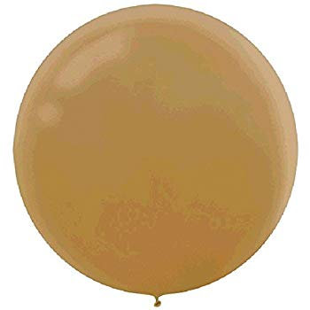 "Pack of 4 - 24"" Gold Round Latex Balloon"
