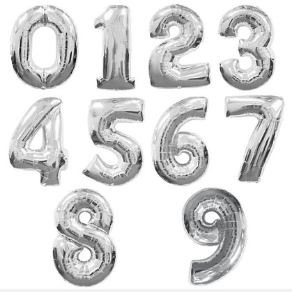 "35"" Supershape Silver Numbers Foil Balloon"