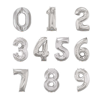 "32"" Supershape Silver Numbers Foil Balloon"