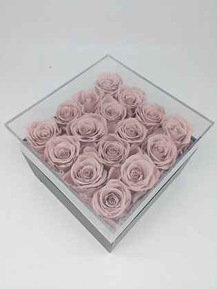 Acrylic Square Box of 16 Preserved Forever Rose