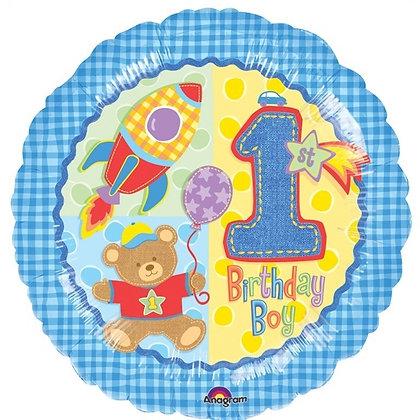 "18"" / 45cm Happy 1st Birthday Boy Foil Balloon"