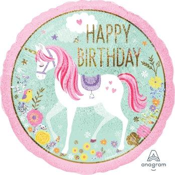"18"" / 45cm Magical Unicorn Happy Birthday Foil Balloon"